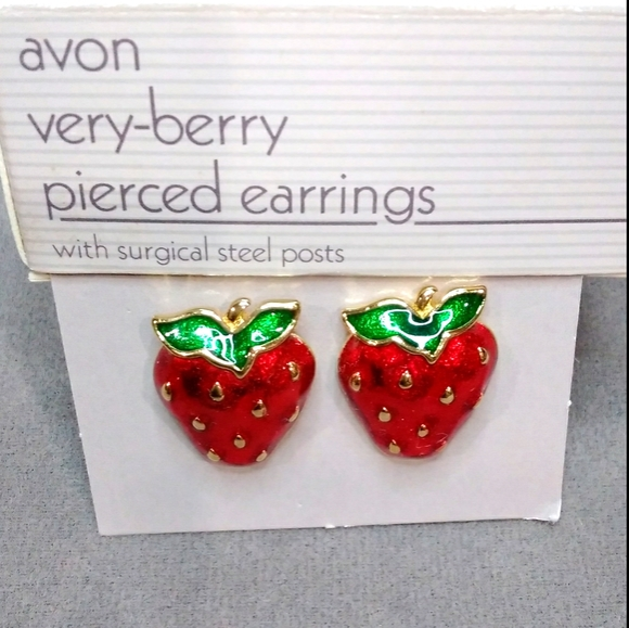 Avon very berry pierced earrings vintage jewelry
